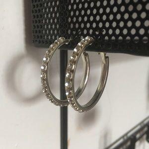 Jewelry - Silver Rhinestone Hoops